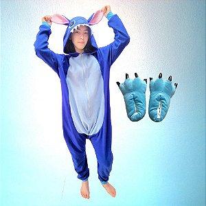 Kit Pijama Kigurumi Lilo Stitch Azul com Pantufa