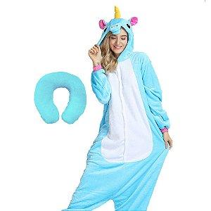 Kit Pijama Kigurumi Unicórnio Azul com Almofada de Pescoço