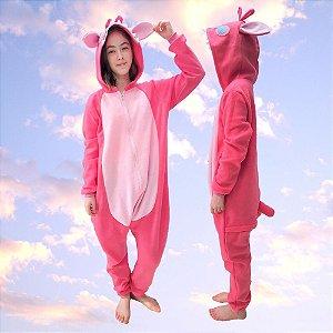 Pijama Kigurumi Lilo Stitch Angel Pink Macacão com Capuz