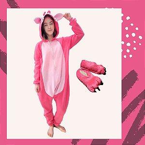 Kit Pijama Kigurumi Lilo Stitch Angel Pink com Pantufa