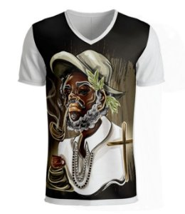 Camiseta Preto-Velho com Cachimbo