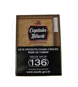CIGARRILHA CAPTAIN BLACK - DARK CREMA (BAUNILHA) COM PITEIRA MAÇO C/ 8 UNI