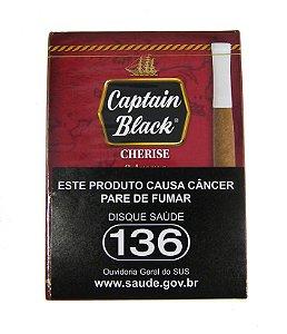 CIGARRILHA CAPTAIN BLACK - CHERISE (CEREJA) COM PITEIRA MAÇO C/ 8 UNI