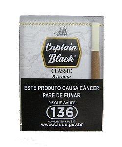 CIGARRILHA CAPTAIN BLACK - CLASSIC COM PITEIRA MAÇO C/ 8 UNI