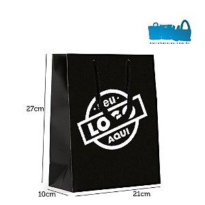 500 Sacolas de Papel Alça Cordão 21x27x10cm