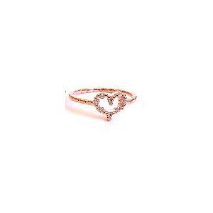 Anel Rosé Coração Zircônias Tamanho 16