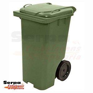 Contentor de Lixo com Tampa e Rodas 120 Litros Verde - BELOSCH