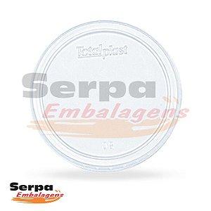 Tampa de Plástico 200 / 250ml - Transparente - Caixa 1.000 ou Pacote 50 pcs - TOTALPLAST