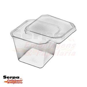 Pote Plástico Quadrado com Tampa 250ml - Pacote com 20 unidades - PRAFESTA