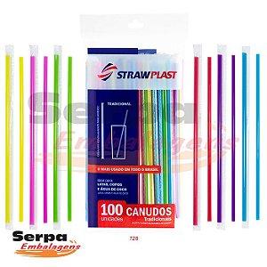 Canudo Tradicional Colorido - Pacote com 100 unidades