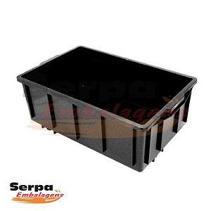 Caixa Organizadora Empilhável Preta 39,5 Litros - SEM TAMPA - JSN