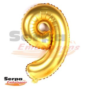 Balão Metalizado Número 9 - 110 cm DOURADO