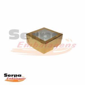 Caixa com Visor Baixa - 9 x 9 x 4 cm - Dourada