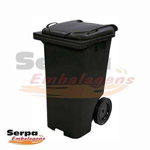 Coletor de Lixo com Tampa 240 Litros Preto