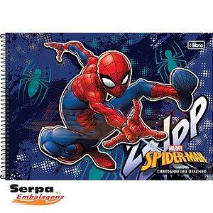 CADERNO ESPIRAL CAPA DURA CARTOGRAFIA E DESENHO SPIDER-MAN 96 FOLHAS