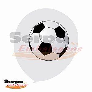 Balão n°10 Branco com Bola de Futebol - Pacote com 25 unidades