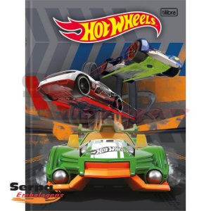 CADERNO BROCHURA CAPA DURA UNIVERSITÁRIO HOT WHEELS 96 FOLHAS