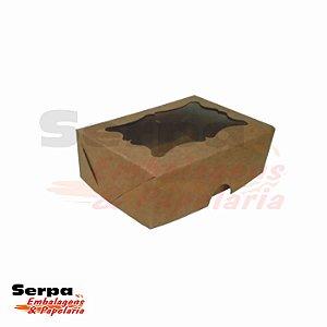 Caixa com Visor - 7,5 x 11 x 3,5 cm - Kraft