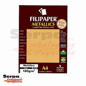 Papel A4 Filipaper Metallics - Ouro 180G - Pacote com 15 Folhas
