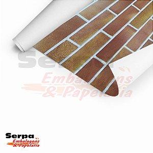 Papel Adesivo 45cm x 10m - Tijolo de barro