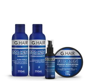 Kit G.Hair For Men - Shampoo 250mL + Condicionador 250 mL + Óleo de barba 60mL + Pomada Modeladora 100g