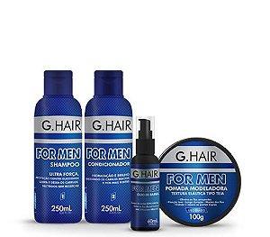 Kit G.Hair For Men - Shampoo 250mL + Condicionador 250 mL + Óleo de barba 60mL + Pomada Modeladora 100g