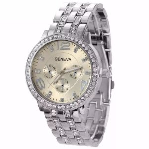 Relógio Dourado Prateado Feminino de Pulso Quartzo  Geneva