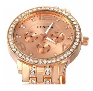 Relógio Dourado Rosé Femininode Pulso Quartzo Original Geneva