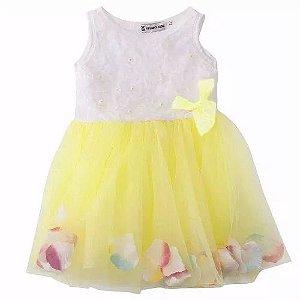 Vestido Infantil 9 a 12 meses em algodão elastano e malha leve cor amarelo