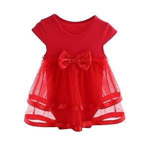 Vestido Infantil Bory 9 a 12 meses em algodão e malha fria cor vermelho