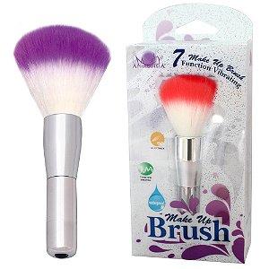 Vibrador Make Up Brush - Formato de Blush com Multivelocidade à Prova d'Água - 13 x 2,2 cm - Cor Roxo