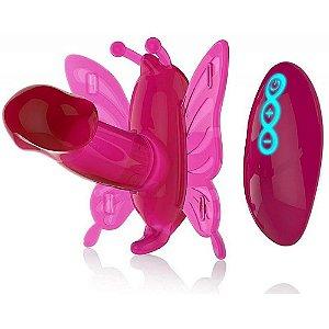 Vibrador Butterfy com Mini Pênis, 20 Níveis de Vibração e Controle Remoto sem Fio - Double Vibrating Butterfly
