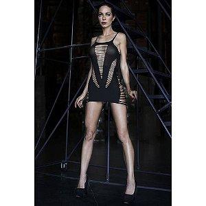 Mini Vestido sem Costura com Detalhes em Tiras - KingsPearl - Cor Preto
