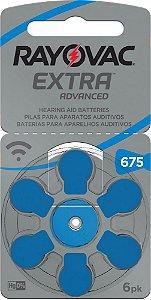 Bateria Auditiva Rayovac Tamanho 675 Cartela c/6unid (não coclear)