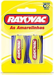 Pilhas Zinco Rayovac C (média) - Cartela com 2 Pilhas