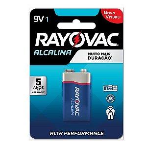 Bateria Alcalina Rayovac 9V - Cartela com 1 Bateria