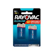 Bateria Alcalina Rayovac 9V - Cartela com 2 Baterias