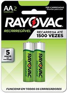 Pilha Recarregável Econômica Rayovac AA 1350MAH - 2 Pilhas