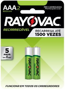 Pilha Recarregável Econômica Rayovac AAA  600MAH - 2 Pilhas