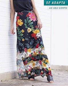 Saia Carolina Longa Floral Preta