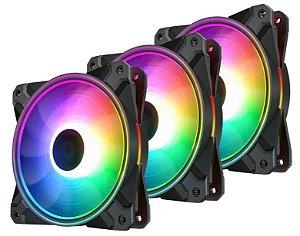 KIT FAN GAMER CF 120 PLUS RGB COM 3 FANS CF120P-3P
