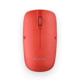 Mouse sem fio multilaser 2.4ghz vermelho usb mo289