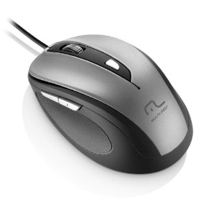 Mouse comfort 6 botoes cinza e preto usb multilaser mo242