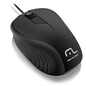 MOUSE EMBORRACHADO PRETO COM FIO USB MULTILASER MO222