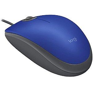 Mouse com fio azul logitech m110