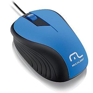 Mouse emborrachado azul e preto com fio usb multilaser mo226