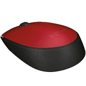 Mouse sem fio receptor nano m170 vermelho logitech