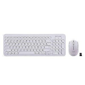 KIT Teclado E Mouse Sem Fio Teclas Redondas Branco Usb Tc232