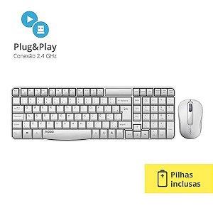 Combo Rapoo Teclado E Mouse Sem Fio 2.4 Ghz White RA002