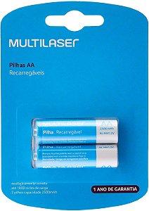Pilhas Recarregáveis AA Multilaser 2500Mah Com 2 Unidades - CB053